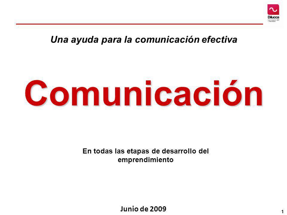 1 Comunicación En todas las etapas de desarrollo del emprendimiento Junio de 2009 Una ayuda para la comunicación efectiva