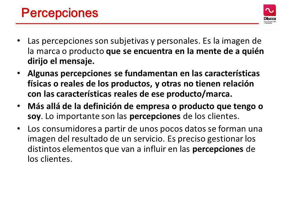 Las percepciones son subjetivas y personales. Es la imagen de la marca o producto que se encuentra en la mente de a quién dirijo el mensaje. Algunas p