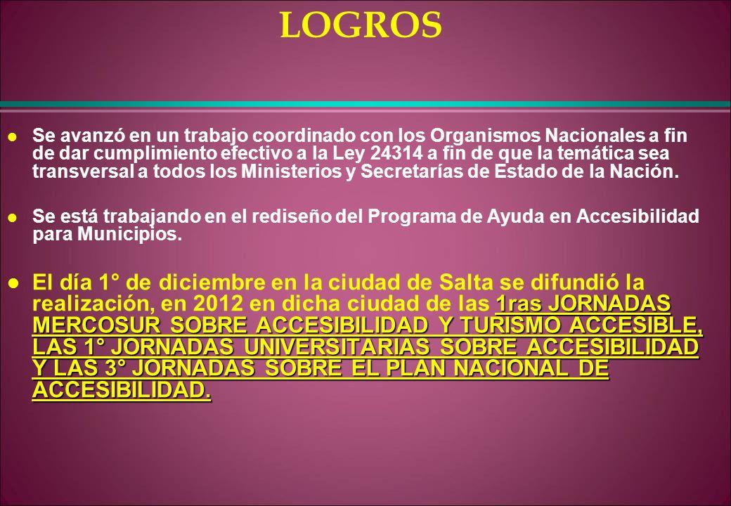 LOGROS l Se avanzó en un trabajo coordinado con los Organismos Nacionales a fin de dar cumplimiento efectivo a la Ley 24314 a fin de que la temática s