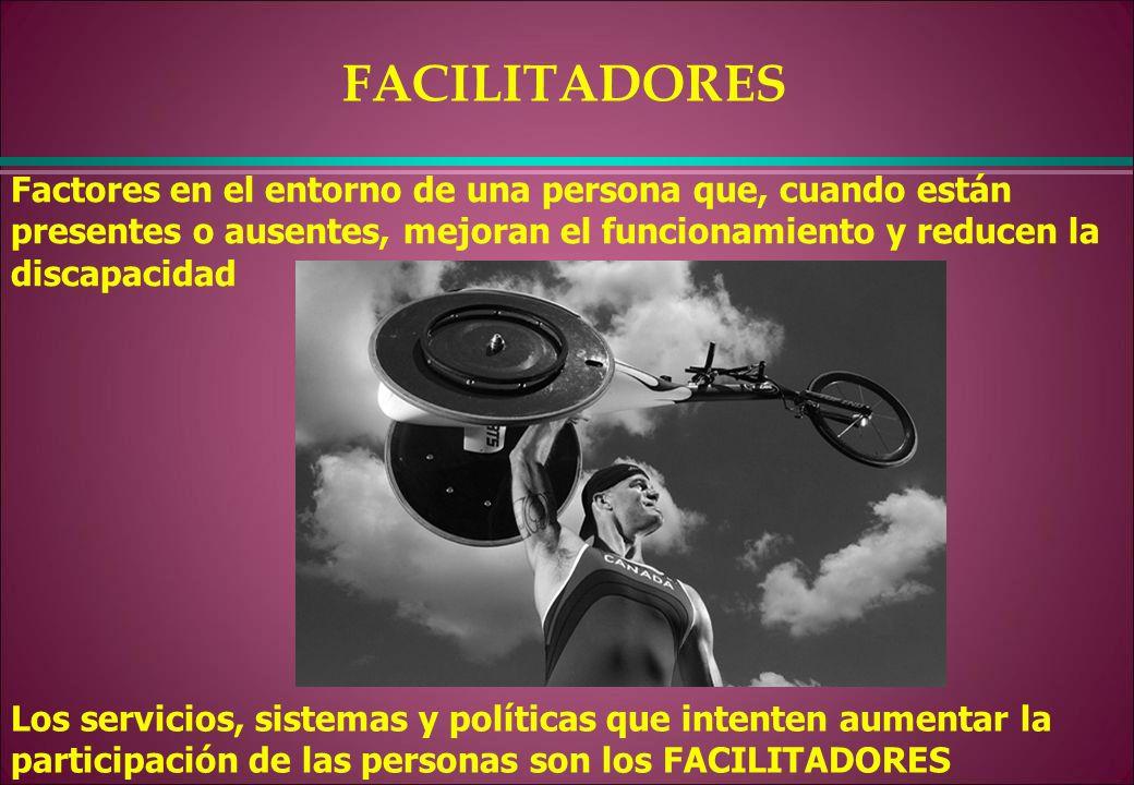 Factores en el entorno de una persona que, cuando están presentes o ausentes, mejoran el funcionamiento y reducen la discapacidad FACILITADORES Los se