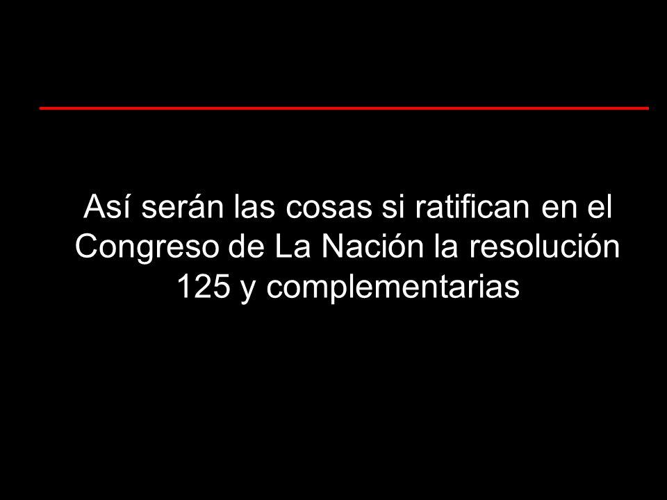 Así serán las cosas si ratifican en el Congreso de La Nación la resolución 125 y complementarias