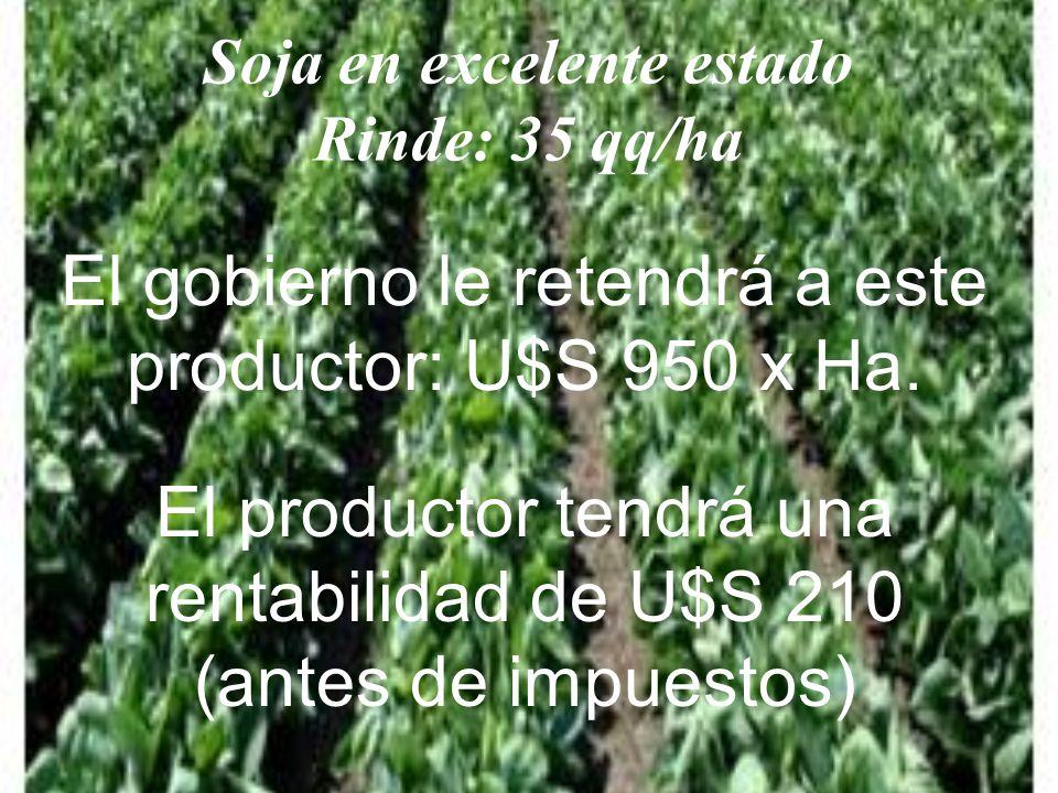 Soja en excelente estado Rinde: 35 qq/ha El gobierno le retendrá a este productor: U$S 950 x Ha.