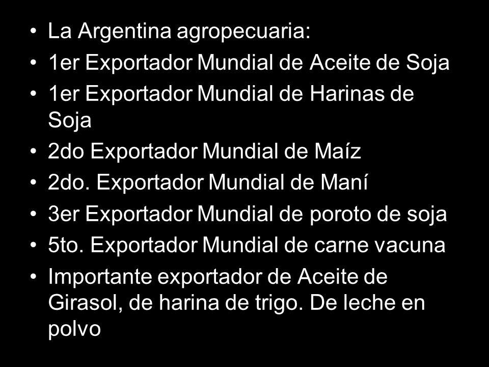 La Argentina agropecuaria: 1er Exportador Mundial de Aceite de Soja 1er Exportador Mundial de Harinas de Soja 2do Exportador Mundial de Maíz 2do.