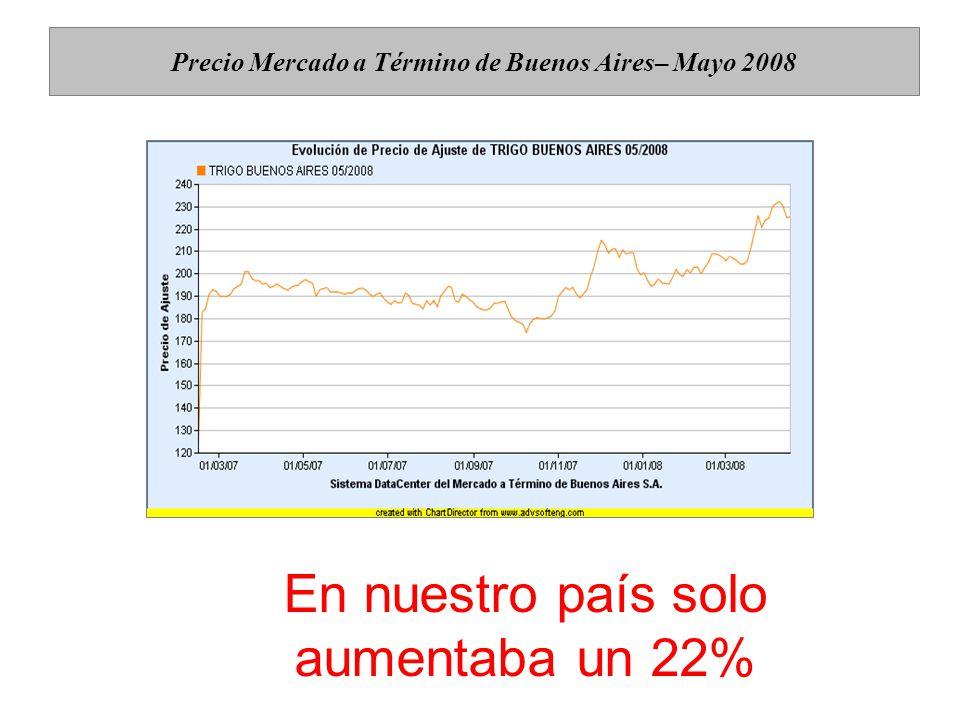 Precio Mercado a Término de Buenos Aires– Mayo 2008 En nuestro país solo aumentaba un 22%