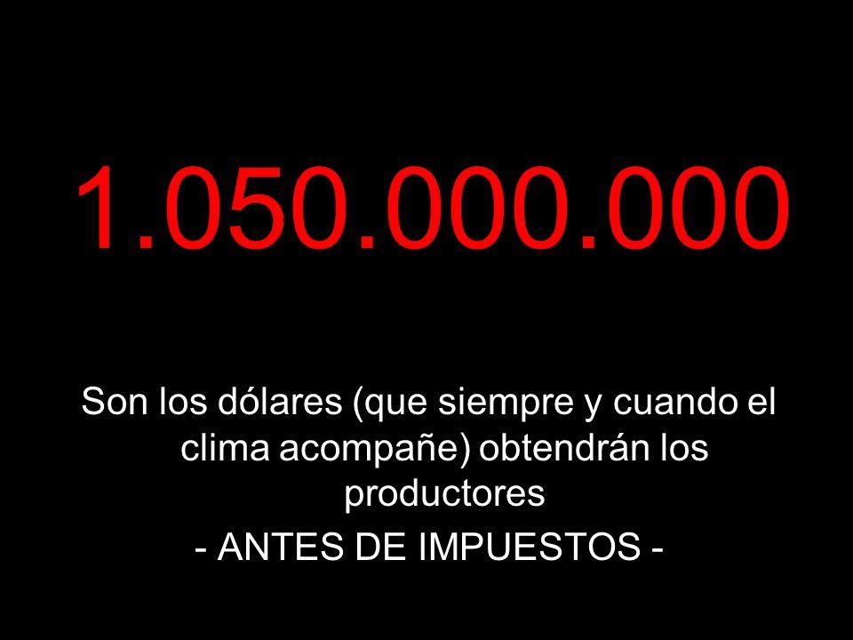 1.050.000.000 Son los dólares (que siempre y cuando el clima acompañe) obtendrán los productores - ANTES DE IMPUESTOS -