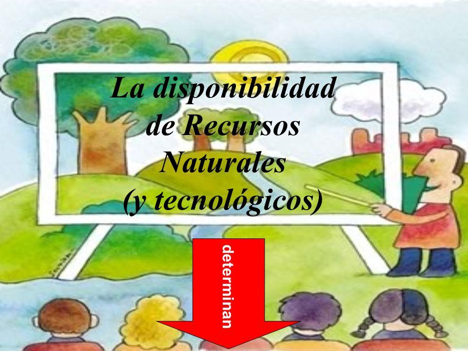 determinan La disponibilidad de Recursos Naturales (y tecnológicos)