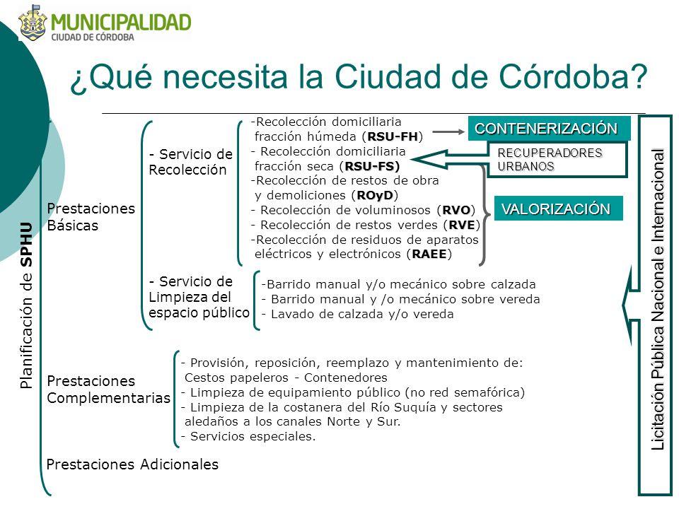 ¿Qué necesita la Ciudad de Córdoba? -Recolección domiciliaria RSU-FH fracción húmeda (RSU-FH) - Recolección domiciliaria RSU-FS fracción seca (RSU-FS)