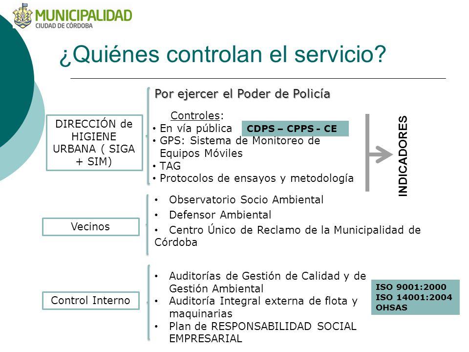 ¿Quiénes controlan el servicio? Por ejercer el Poder de Policía DIRECCIÓN de HIGIENE URBANA ( SIGA + SIM) Controles: En vía pública GPS: Sistema de Mo