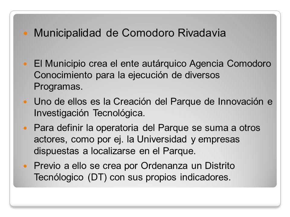 Municipalidad de Comodoro Rivadavia El Municipio crea el ente autárquico Agencia Comodoro Conocimiento para la ejecución de diversos Programas. Uno de