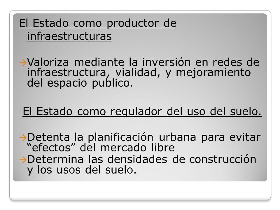 El Estado como productor de infraestructuras Valoriza mediante la inversión en redes de infraestructura, vialidad, y mejoramiento del espacio publico.