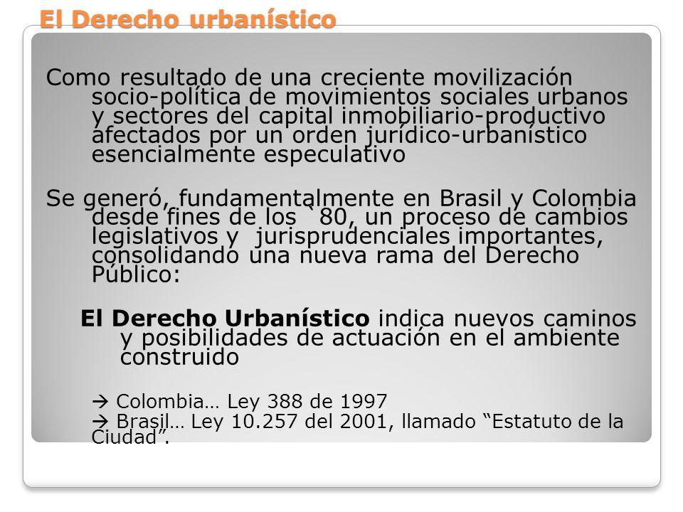 El Derecho urbanístico Como resultado de una creciente movilización socio-política de movimientos sociales urbanos y sectores del capital inmobiliario