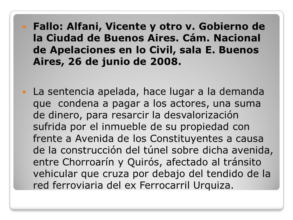 Fallo: Alfani, Vicente y otro v. Gobierno de la Ciudad de Buenos Aires. Cám. Nacional de Apelaciones en lo Civil, sala E. Buenos Aires, 26 de junio de