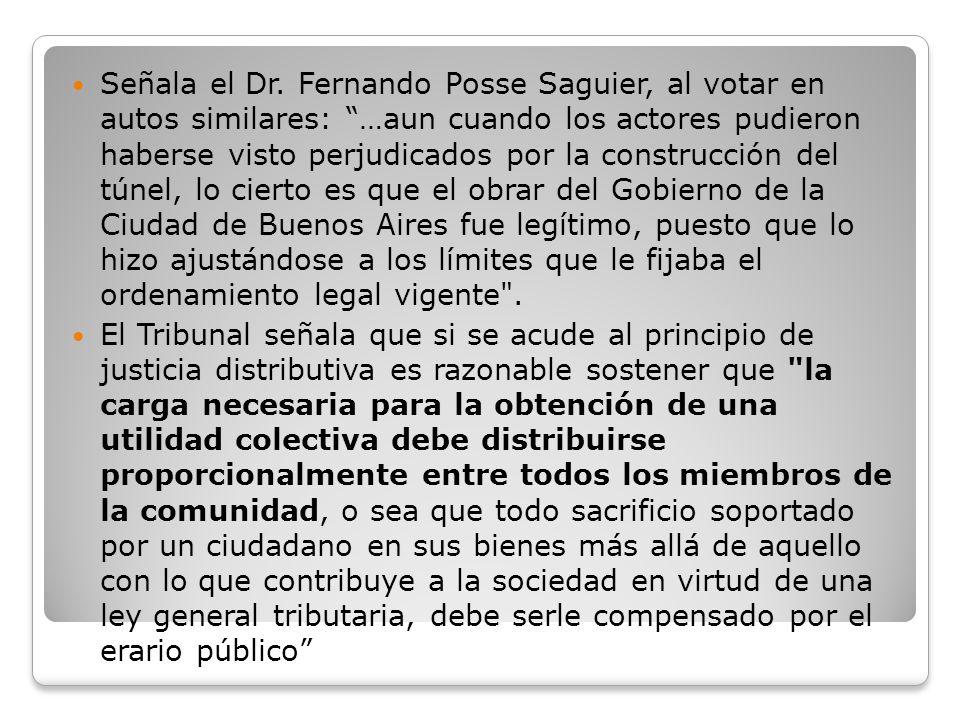 Señala el Dr. Fernando Posse Saguier, al votar en autos similares: …aun cuando los actores pudieron haberse visto perjudicados por la construcción del
