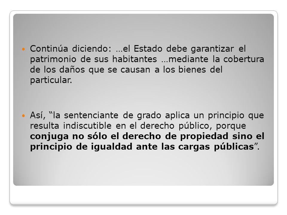 Continúa diciendo: …el Estado debe garantizar el patrimonio de sus habitantes …mediante la cobertura de los daños que se causan a los bienes del parti