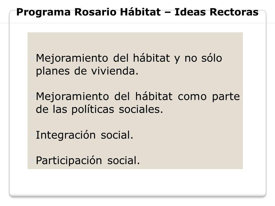 Programa Rosario Hábitat – Ideas Rectoras Mejoramiento del hábitat y no sólo planes de vivienda. Mejoramiento del hábitat como parte de las políticas