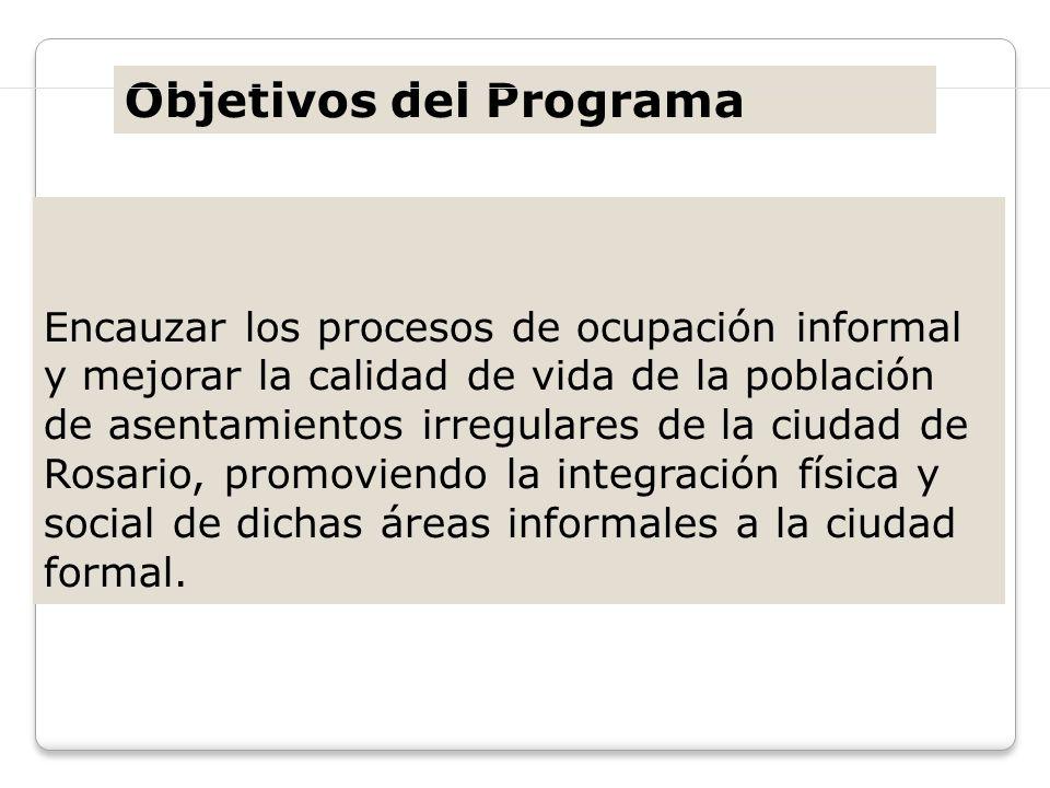 Encauzar los procesos de ocupación informal y mejorar la calidad de vida de la población de asentamientos irregulares de la ciudad de Rosario, promovi