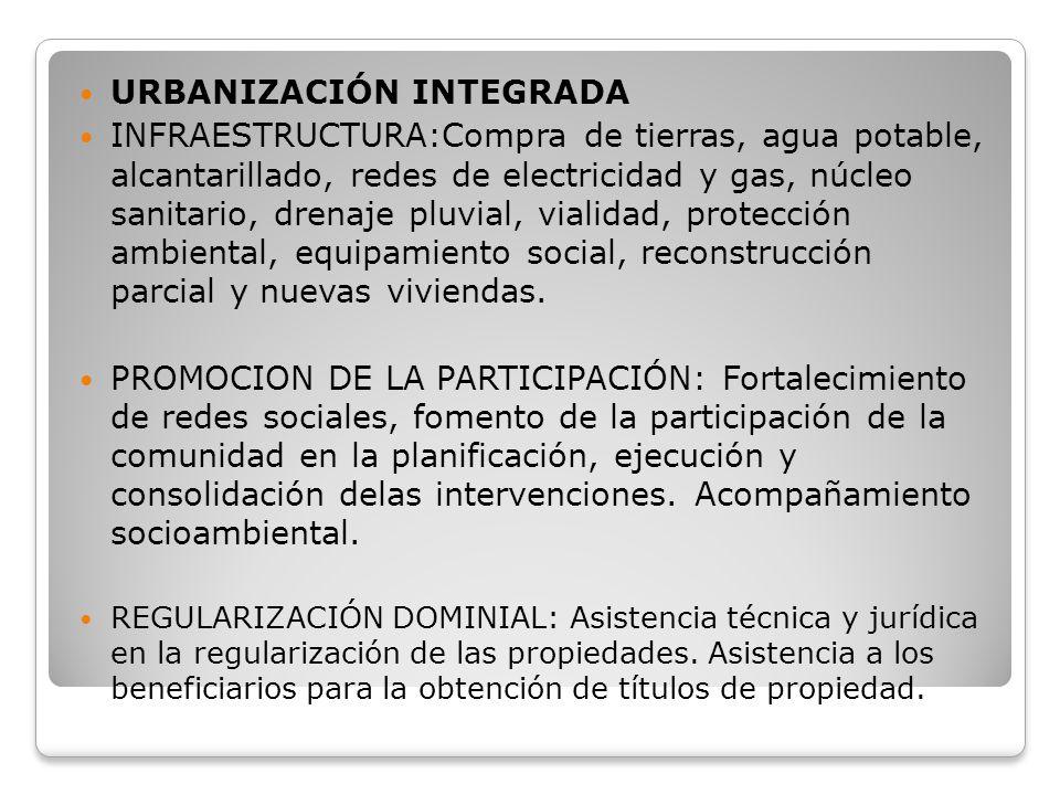 URBANIZACIÓN INTEGRADA INFRAESTRUCTURA:Compra de tierras, agua potable, alcantarillado, redes de electricidad y gas, núcleo sanitario, drenaje pluvial