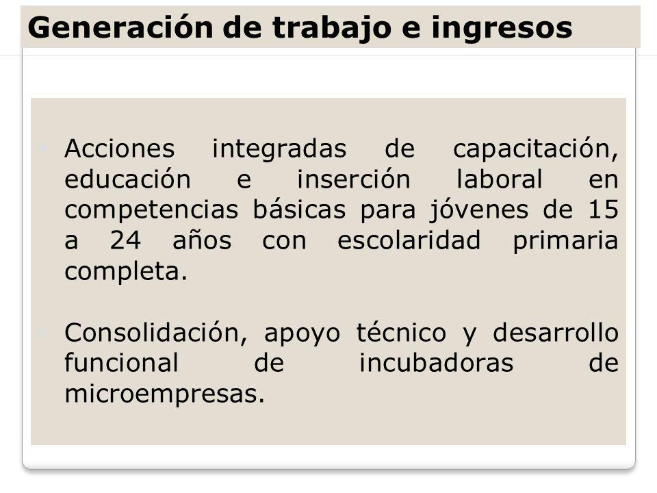 Generación de trabajo e ingresos Acciones integradas de capacitación, educación e inserción laboral en competencias básicas para jóvenes de 15 a 24 añ