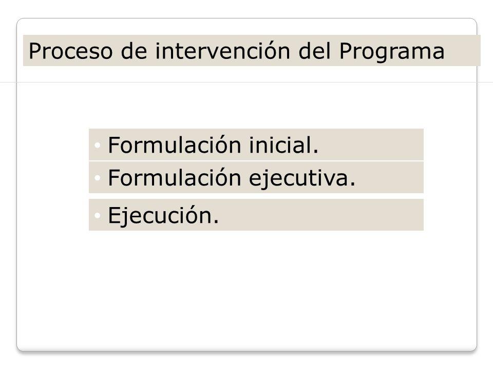 Proceso de intervención del Programa Etapas: Formulación inicial. Formulación ejecutiva. Ejecución.