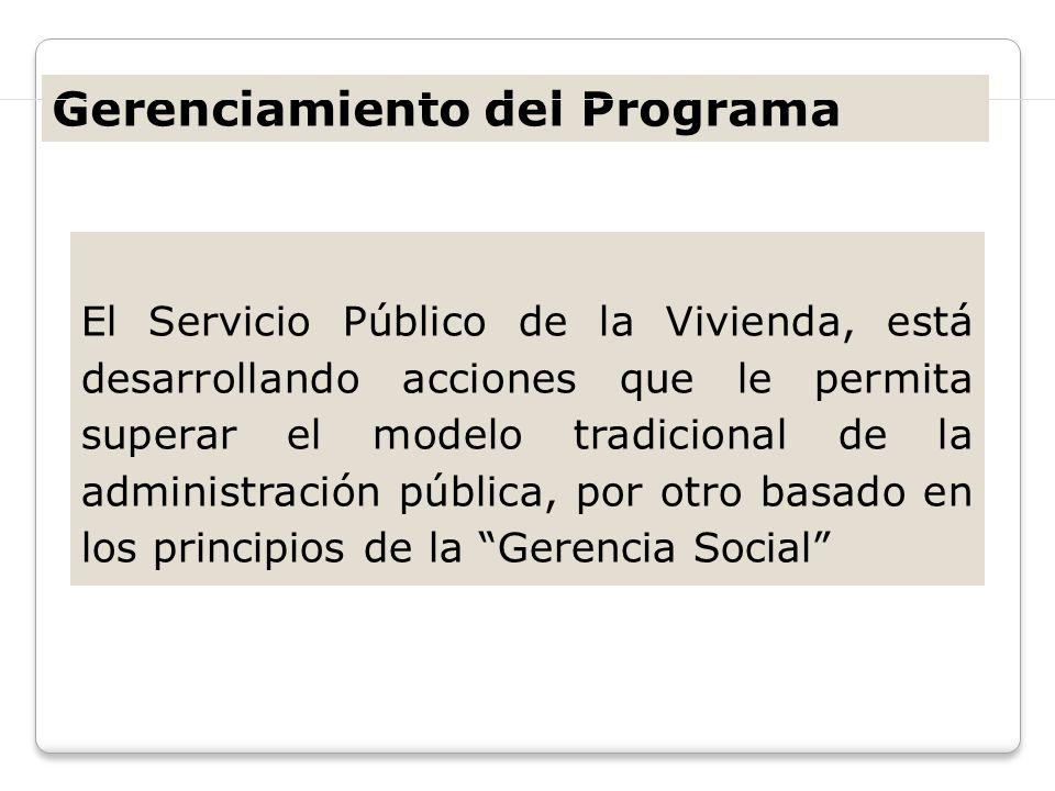 El Servicio Público de la Vivienda, está desarrollando acciones que le permita superar el modelo tradicional de la administración pública, por otro ba