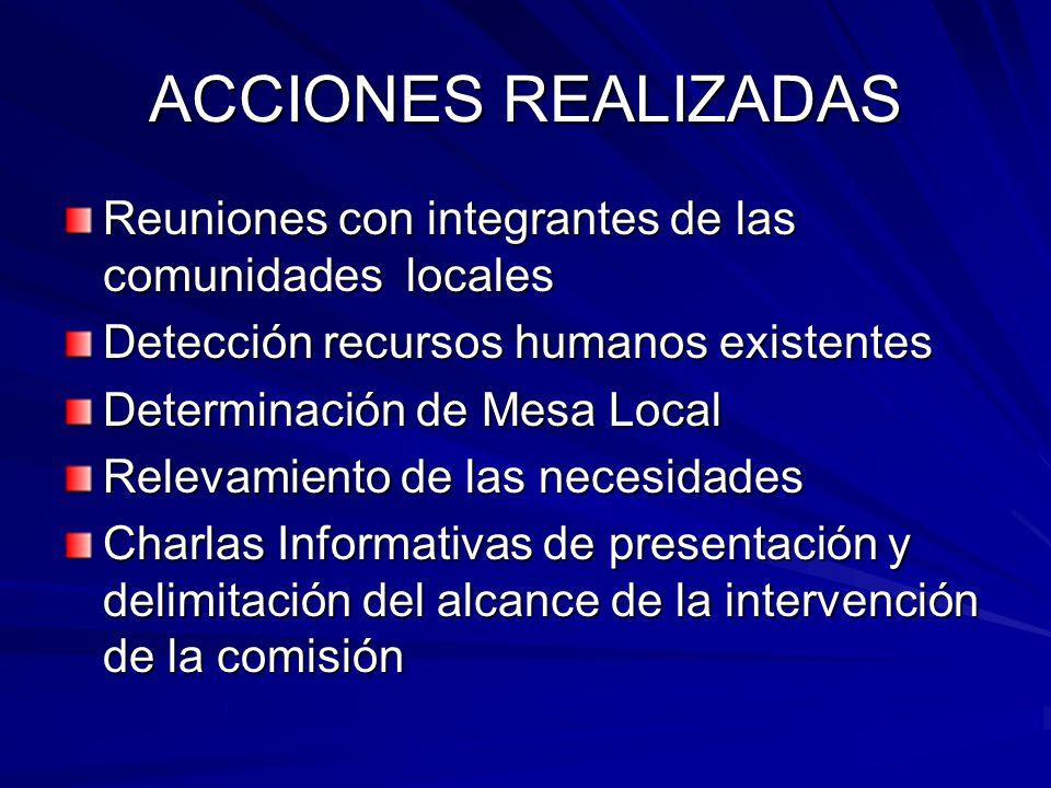 ACCIONES REALIZADAS Reuniones con integrantes de las comunidades locales Detección recursos humanos existentes Determinación de Mesa Local Relevamiento de las necesidades Charlas Informativas de presentación y delimitación del alcance de la intervención de la comisión