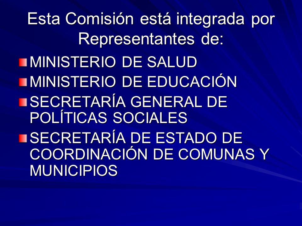 Esta Comisión está integrada por Representantes de: MINISTERIO DE SALUD MINISTERIO DE EDUCACIÓN SECRETARÍA GENERAL DE POLÍTICAS SOCIALES SECRETARÍA DE ESTADO DE COORDINACIÓN DE COMUNAS Y MUNICIPIOS