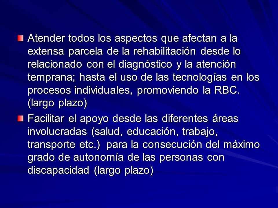 Atender todos los aspectos que afectan a la extensa parcela de la rehabilitación desde lo relacionado con el diagnóstico y la atención temprana; hasta el uso de las tecnologías en los procesos individuales, promoviendo la RBC.