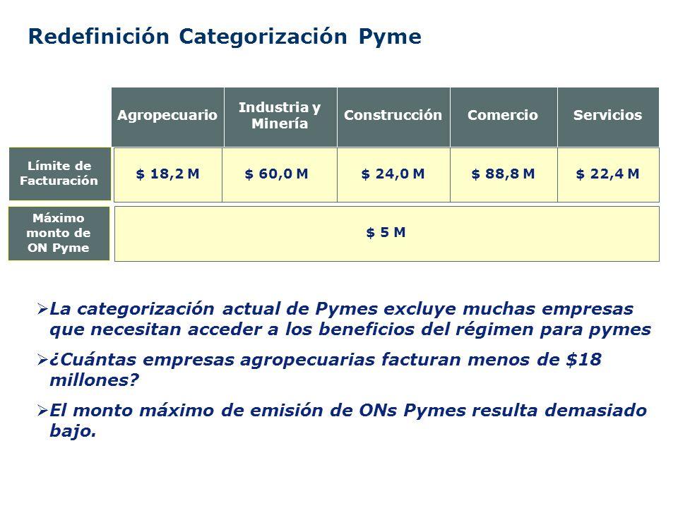 Redefinición Categorización Pyme $ 24,0 M Construcción $ 22,4 M$ 88,8 M$ 60,0 M$ 18,2 M Límite de Facturación ServiciosComercio Industria y Minería Agropecuario La categorización actual de Pymes excluye muchas empresas que necesitan acceder a los beneficios del régimen para pymes ¿Cuántas empresas agropecuarias facturan menos de $18 millones.