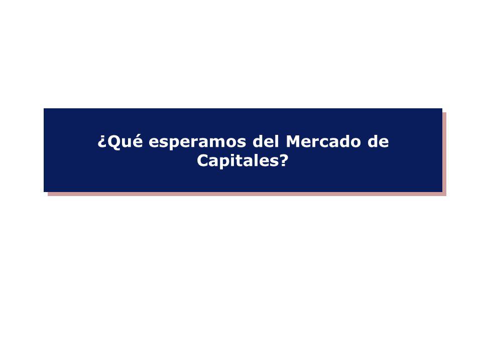 CAPITALIZACIÓN BURSÁTIL* 85%137% FINANCIAMIENTO ANUAL EN EL MERCADO DE CAPITALES* (% DEL PBI) ACTIVOS DE LOS FONDOS MUTUALES Y DE PENSIÓN (% DEL PBI) 47%119% 35%146% Fuente: The Economist */ Datos para firmas domésticas durante 2006.