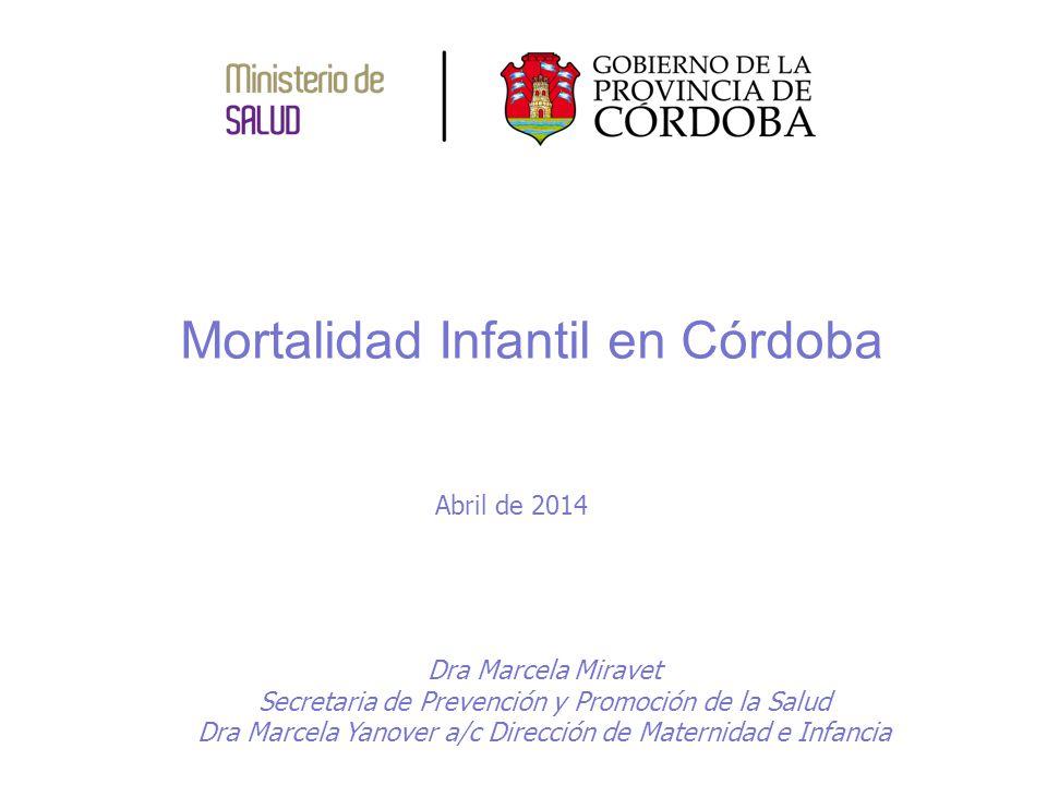 Mortalidad Infantil en Córdoba Dra Marcela Miravet Secretaria de Prevención y Promoción de la Salud Dra Marcela Yanover a/c Dirección de Maternidad e