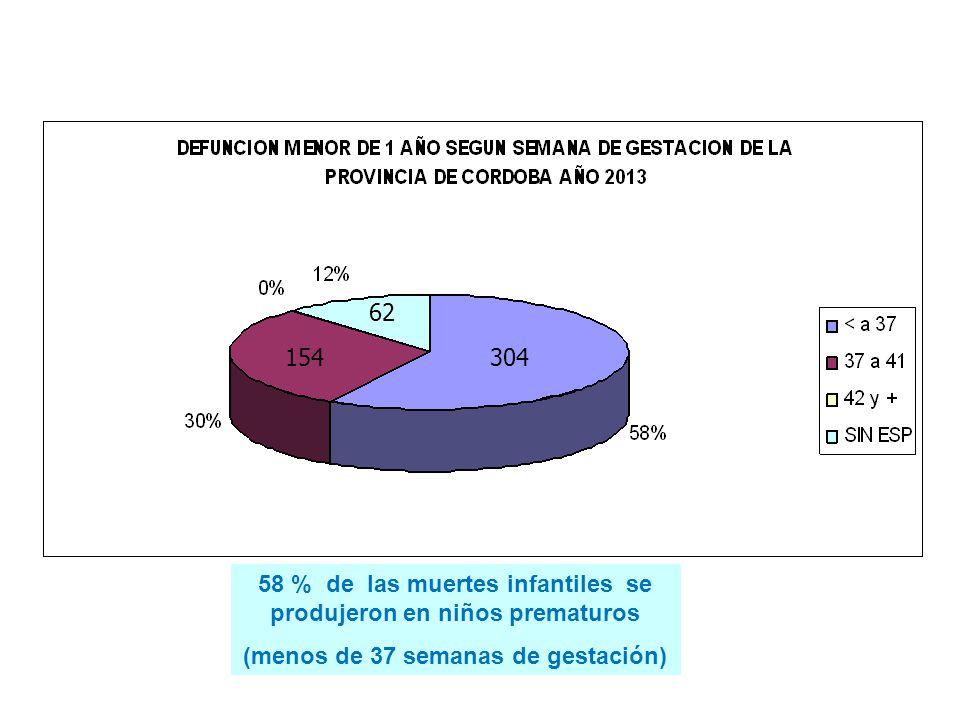 58 % de las muertes infantiles se produjeron en niños prematuros (menos de 37 semanas de gestación) 304 62 154