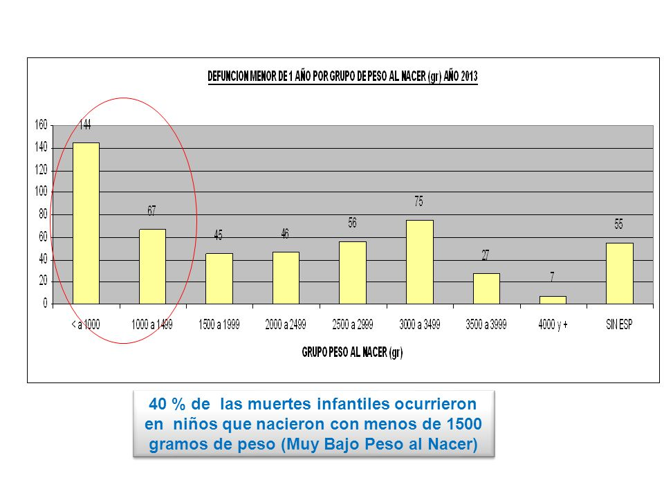 40 % de las muertes infantiles ocurrieron en niños que nacieron con menos de 1500 gramos de peso (Muy Bajo Peso al Nacer)