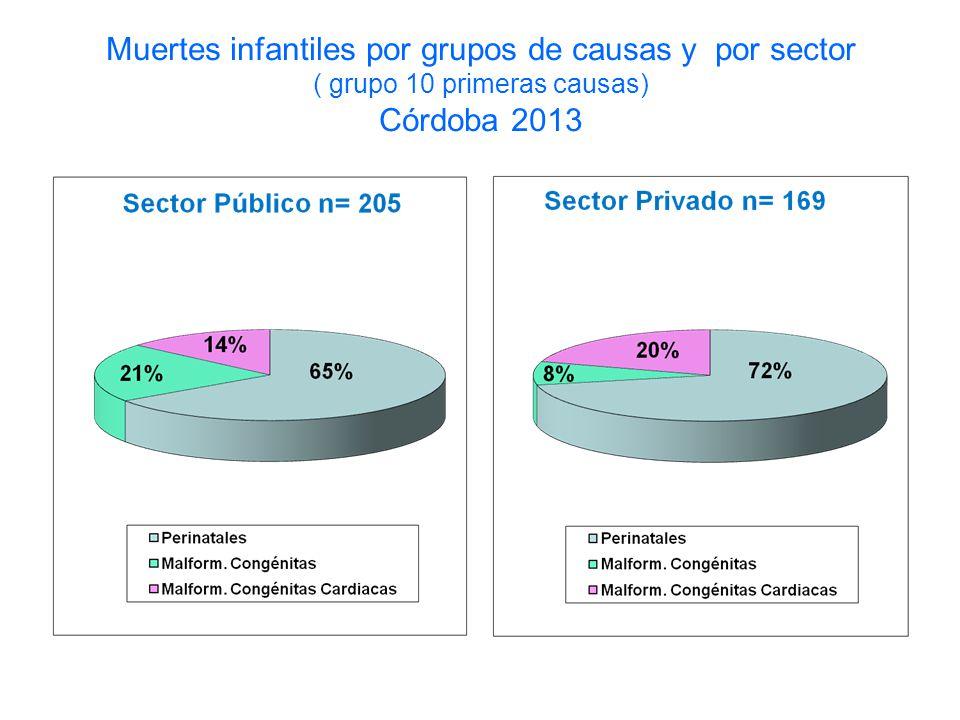 Muertes infantiles por grupos de causas y por sector ( grupo 10 primeras causas) Córdoba 2013