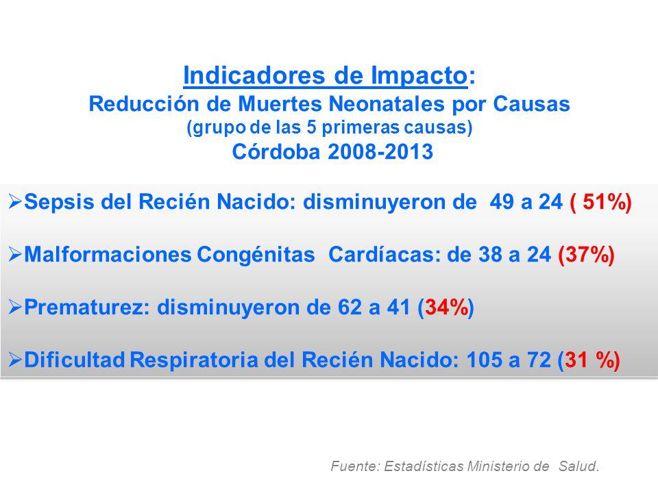 Indicadores de Impacto: Reducción de Muertes Neonatales por Causas (grupo de las 5 primeras causas) Córdoba 2008-2013 Fuente: Estadísticas Ministerio