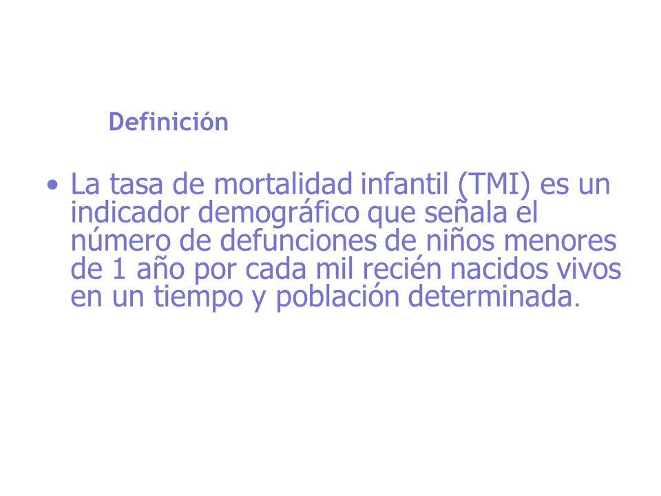 Definición La tasa de mortalidad infantil (TMI) es un indicador demográfico que señala el número de defunciones de niños menores de 1 año por cada mil