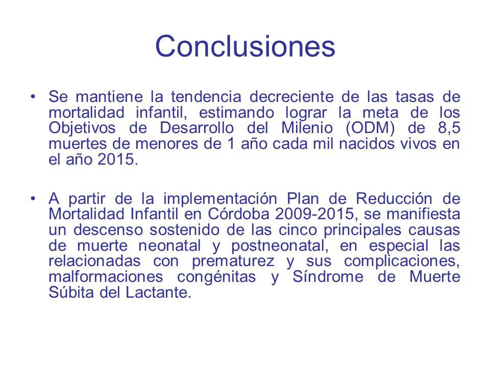 Conclusiones Se mantiene la tendencia decreciente de las tasas de mortalidad infantil, estimando lograr la meta de los Objetivos de Desarrollo del Mil