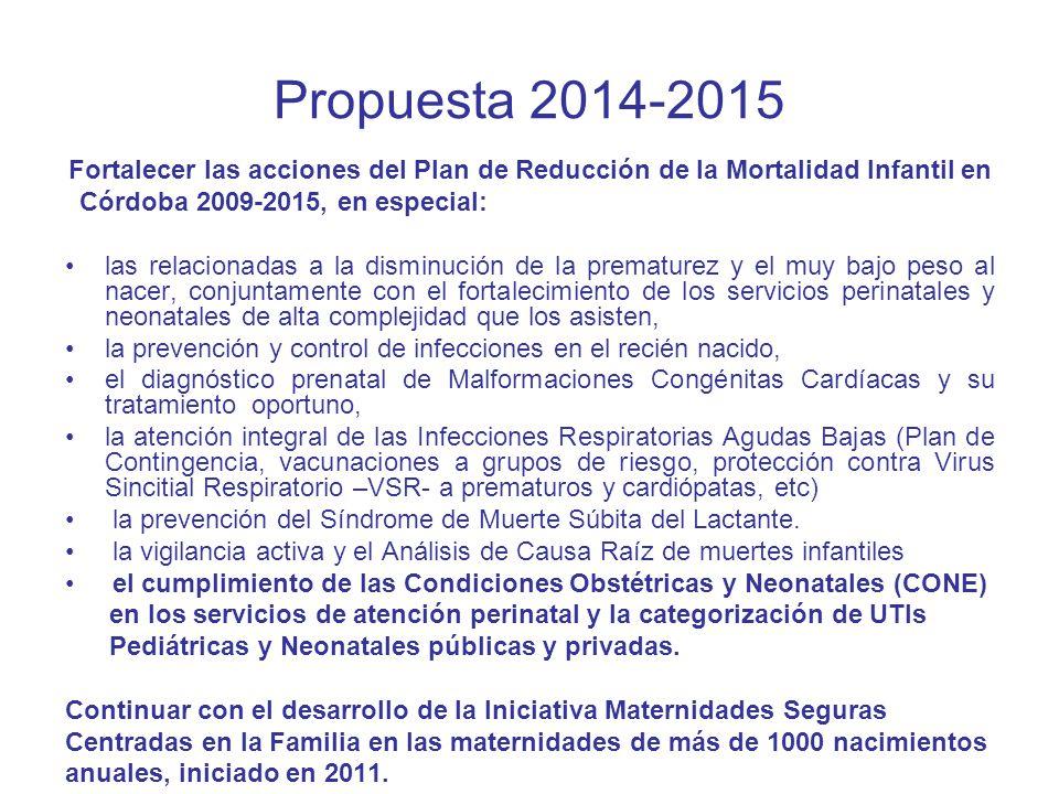 Propuesta 2014-2015 Fortalecer las acciones del Plan de Reducción de la Mortalidad Infantil en Córdoba 2009-2015, en especial: las relacionadas a la d