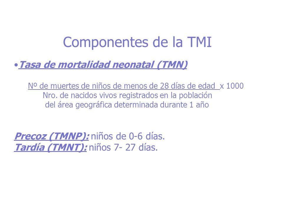 Componentes de la TMI Tasa de mortalidad neonatal (TMN) Nº de muertes de niños de menos de 28 días de edad x 1000 Nro. de nacidos vivos registrados en