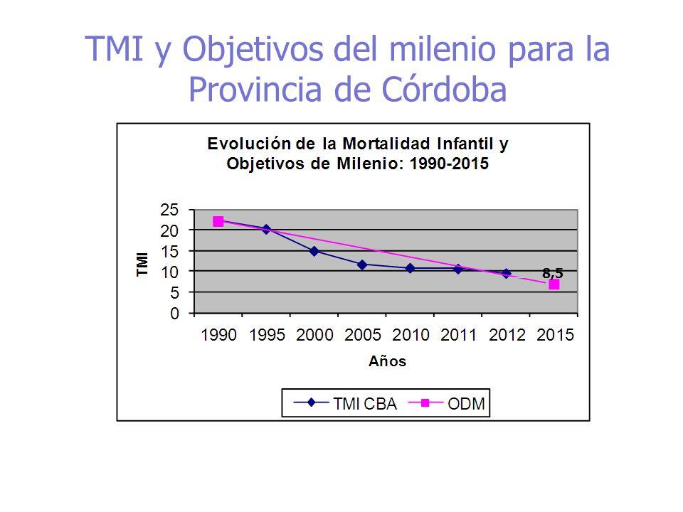 Objetivos de Desarrollo del Milenio Tasa de Mortalidad Infantil ( por mil Nacidos Vivos) y tendencia lineal Córdoba - 2000-2013 Fuentes: Departamento de Estadísticas, Ministerio de Salud Vigilancia de Mortalidad Infantil, Maternidad e Infancia Inicio Plan Estratégico de Reducción de Mortalidad Infantil 2009-2015 Descenso entre 2000 y 2013: 40% Meta 2015: 8,5 %o NV Descenso entre 2007 y 2013 26% Descenso entre 2007 y 2013 26%