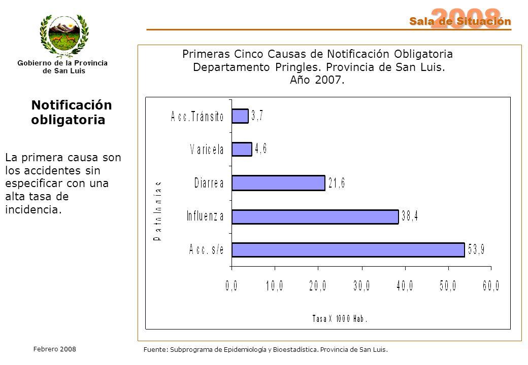 2008 Sala de Situación 2008 Febrero 2008 Fuente: Subprograma de Epidemiología y Bioestadística. Provincia de San Luis. Notificación obligatoria Primer