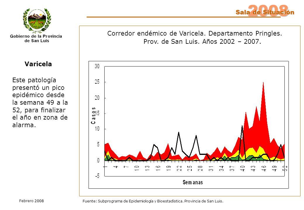 2008 Sala de Situación 2008 Febrero 2008 Fuente: Subprograma de Epidemiología y Bioestadística. Provincia de San Luis. Este patología presentó un pico