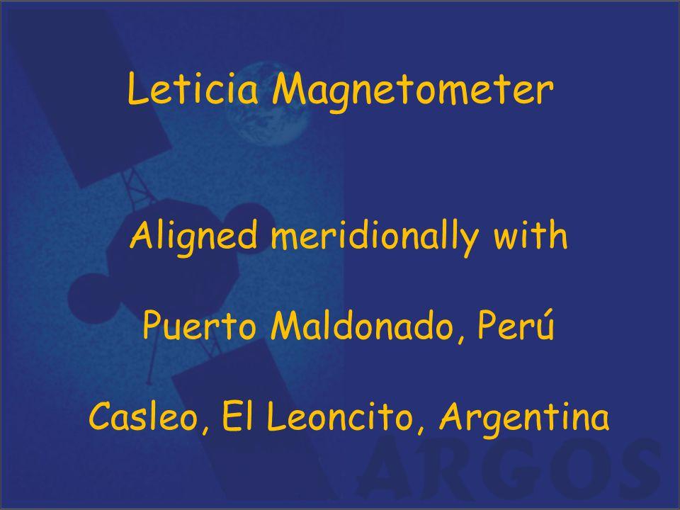 Leticia Magnetometer Aligned meridionally with Puerto Maldonado, Perú Casleo, El Leoncito, Argentina