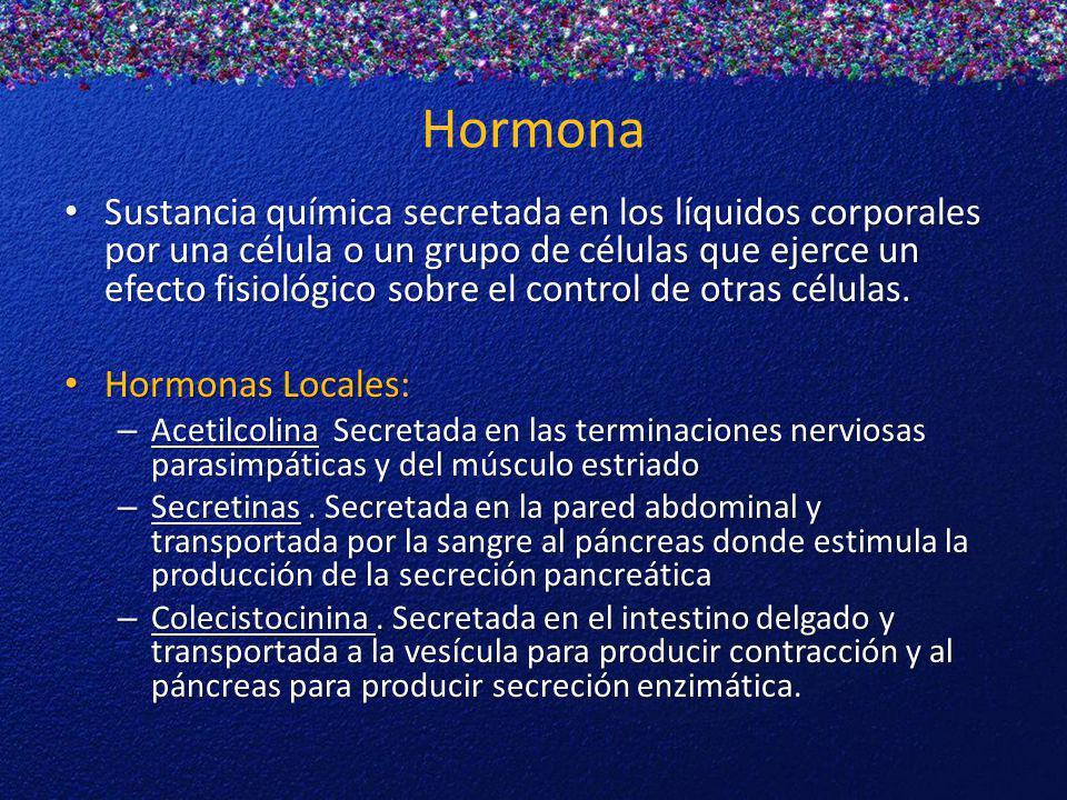 Hormona Sustancia química secretada en los líquidos corporales por una célula o un grupo de células que ejerce un efecto fisiológico sobre el control