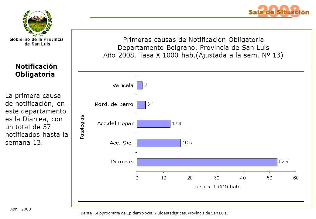 2008 Sala de Situación Abril 2008 Fuente: Subprograma de Epidemiología. Y Bioestadísticas. Provincia de San Luis. Notificación Obligatoria Primeras ca