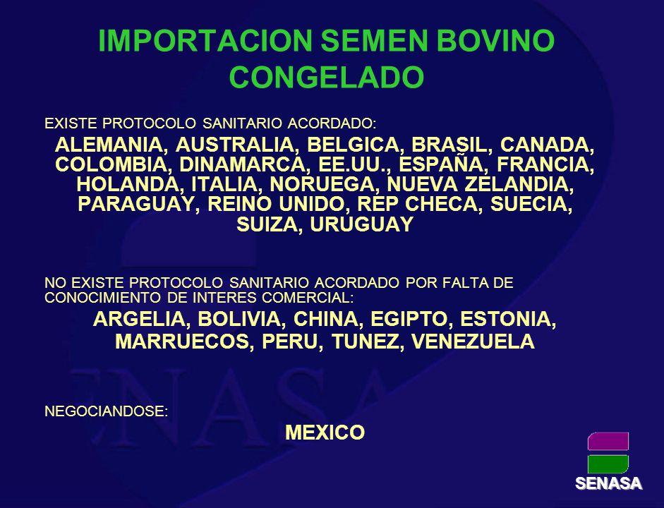 IMPORTACION SEMEN BOVINO CONGELADO EXISTE PROTOCOLO SANITARIO ACORDADO: ALEMANIA, AUSTRALIA, BELGICA, BRASIL, CANADA, COLOMBIA, DINAMARCA, EE.UU., ESP
