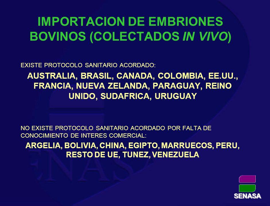 IMPORTACION DE EMBRIONES BOVINOS (COLECTADOS IN VIVO) EXISTE PROTOCOLO SANITARIO ACORDADO: AUSTRALIA, BRASIL, CANADA, COLOMBIA, EE.UU., FRANCIA, NUEVA