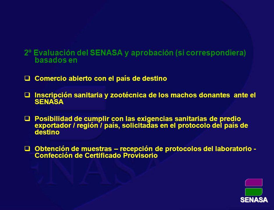 2º Evaluación del SENASA y aprobación (si correspondiera) basados en Comercio abierto con el país de destino Inscripción sanitaria y zootécnica de los