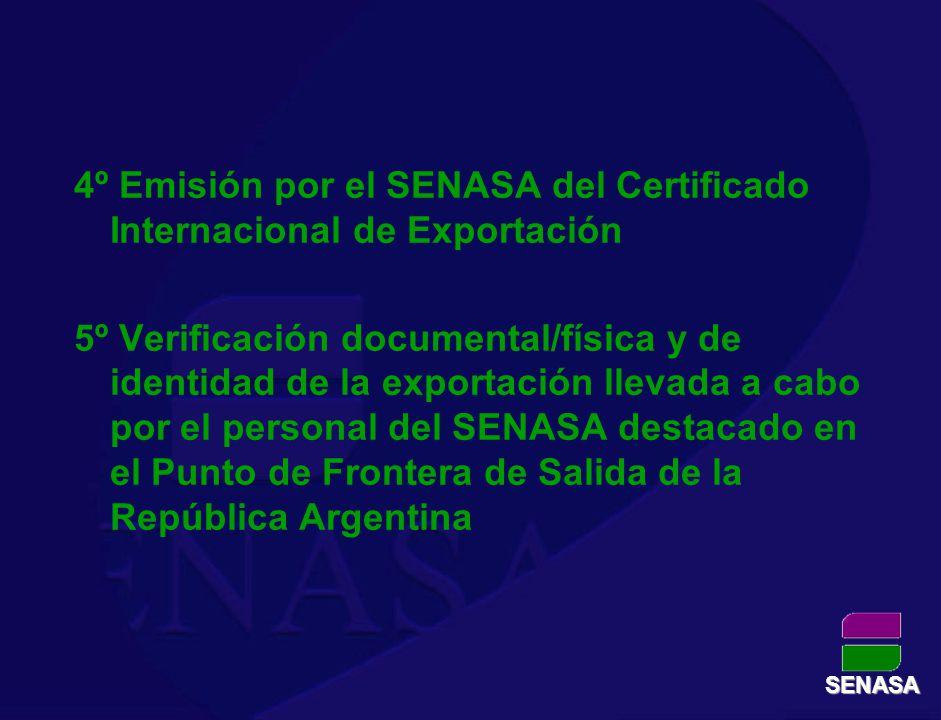 4º Emisión por el SENASA del Certificado Internacional de Exportación 5º Verificación documental/física y de identidad de la exportación llevada a cab