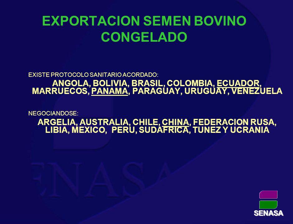 EXPORTACION DE EMBRIONES BOVINOS (COLECTADOS IN VIVO) EXISTE PROTOCOLO SANITARIO ACORDADO: ANGOLA, BOLIVIA, BRASIL, CANADA, COLOMBIA, ECUADOR, FRANCIA, MARRUECOS, PANAMA, PARAGUAY, REINO UNIDO, URUGUAY, VENEZUELA NEGOCIANDOSE: ARGELIA, AUSTRALIA, CHILE, CHINA, COSTA RICA, FEDERACION RUSA, LIBIA, MEXICO, PERU, SUDAFRICA, TUNEZ Y UCRANIA SENASA