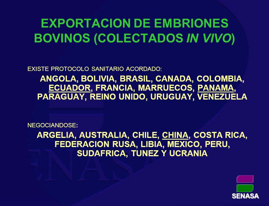 EXPORTACION DE EMBRIONES BOVINOS (COLECTADOS IN VIVO) EXISTE PROTOCOLO SANITARIO ACORDADO: ANGOLA, BOLIVIA, BRASIL, CANADA, COLOMBIA, ECUADOR, FRANCIA